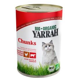 Yarrah Bio Katzenfutter Bröckchen Huhn und Rind - 405g