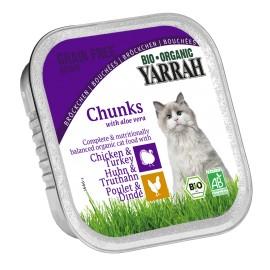 Yarrah Bio Katzenfutter Bröckchen Huhn + Truthahn - 16 x 100g