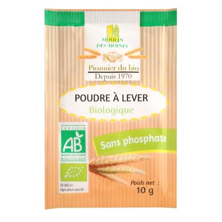 Poudre à lever Bio sans phosphate - 8 sachets à 10g - Moulin des Moines