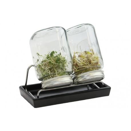 Set de 2 germoirs 1000 ml en verre avec support inox et coupelle en céramique anthracite - Eschenfelder