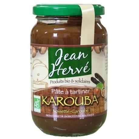Karouba Schokoladennusscreme mit Carob - Haselnüsse/Carob/Vollrohrzuckersirup, Bio - 340g - Jean Hervé