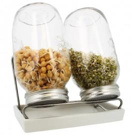 Germoirs en verre Eschenfelder 1500 ml système 2 coupelle blanche
