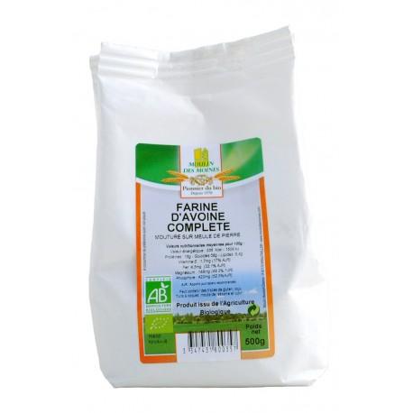 Farine d'avoine complète, Bio - 500 g - Moulin des Moines