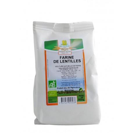 Farine de lentilles complète, Bio - 500 g - Moulin des Moines