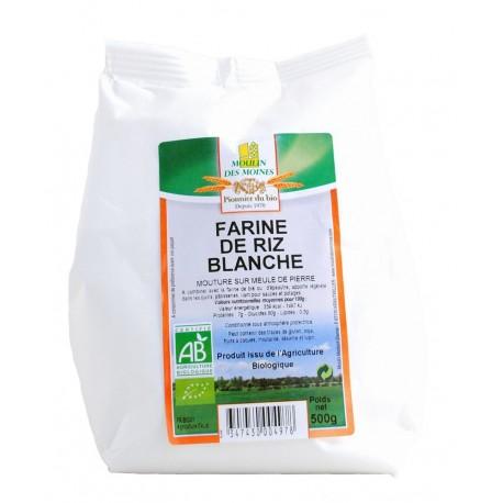 Farine de riz blanche, Bio - 500 g - Moulin des Moines