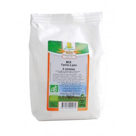 Farine à pain, Mix 5 Céréales, Bio - 500 g - Moulin des Moines