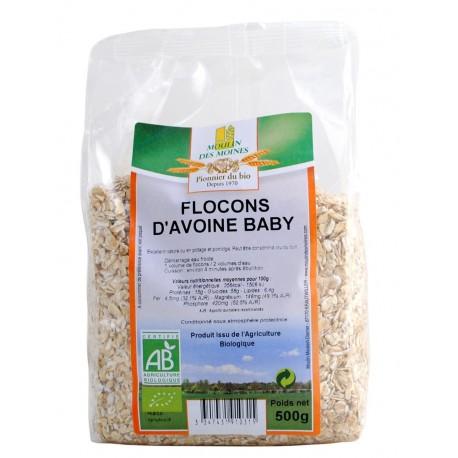 Flocons d'Avoine Baby, Bio - 500 g - Moulin des Moines