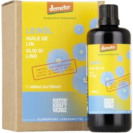 Speise-Leinöl Demeter - 4 x 100ml - Naturkraftwerke