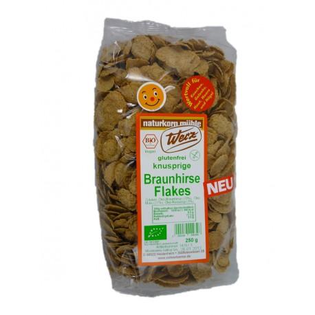 Braunhirse-Flakes glutenfrei mit Reissirup gesüsst, bio - 250g - Werz