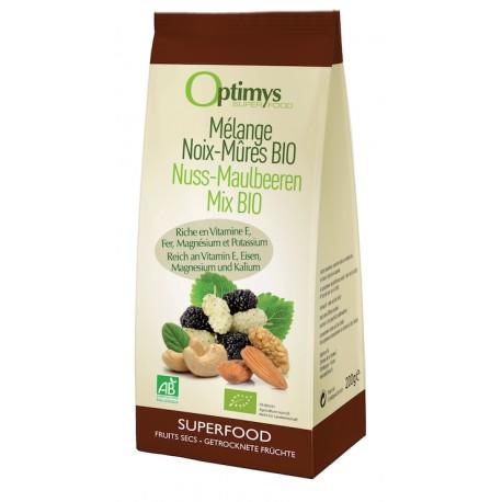 Mélange de noix-mûres Bio - 200g - Optimys